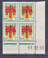 Réunion 287 Auvergne Bloc De 4 Coin Daté  11 12 1950  Neuf ** TB MnH Sin Charmela Cote 57.5 - Unused Stamps
