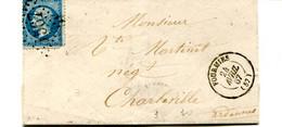 57 LSC Affr. 25c. De FOURMIES Pour Charleville  Du 24/4/1867 - GC 567 +TAD Type 15 Pour Le Départ Et L'arrivée Au Verso - 1849-1876: Klassik