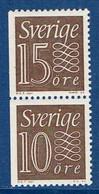 """Schweden 1964  """" Ziffernzeichnung """" , Mi. 519 + 520  Paar S 10 ,  Postfrisch / MNH / Neuf - Ungebraucht"""