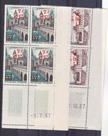Réunion 335/336 Le Quesnoy Et Valençay Bloc De 4 Coin Daté  1957  Neuf ** TB MnH Sin Charmela Cote 14 - Unused Stamps