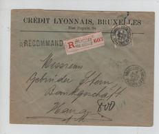 """REF3518/ TP78 GB S/L.Crédit Lyonnais En Recommandée C.BXL Rur Ducale Valeurs 1906 > Hanau Allemagne C.d""""arrivée - 1905 Grosse Barbe"""