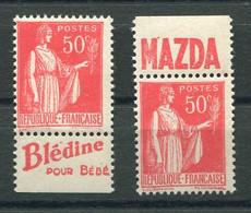 RC 20404 FRANCE N° 283 - 2 BANDELETTES PUBLICITAIRES PROVENANT DE CARNET NEUF ** TB - MNH VF - 1932-39 Paz