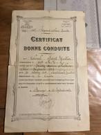 Certificat De Bonne Conduite Maître Ouvrier 105° Régiment D'artillerie Lourde 1930 - 1939-45