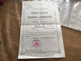 Certificat De Bonne Conduite Caporal 26° Régiment D'infanterie Nancy 1937 - 1939-45