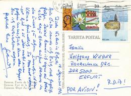Kuba Mi. 2536 Fisch + Seerose (1982) TGST 1982 - Luftpost - Postkarte Nach DDR - Cartas