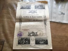 Certificat De Bonne Conduite Soldat 41° Bataillon De Sapeurs Télégraphistes Campagne Maroc 1921 - 1939-45