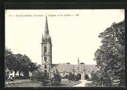 CPA Plougasnou, L'Eglise Et Les Jardins - Plougasnou
