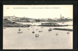 CPA Ile De Batz, Le Port De Saumon, L`Eglise Et Le Sémaphore - Ile-de-Batz