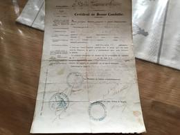 Certificat De Bonne Conduite 2° Régiment De Chasseurs D'Afrique Algérie 1872 - Documents