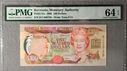 BERMUDAS  100 Dollars 2000 Pick 55a, PMG64 UNC! - Bermudas