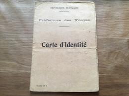 Carte D'identité Préfecture Des Vosges Janvier 1940 - 1939-45