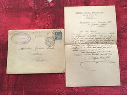 1888 Type Sage✔️Entiers Postaux Enveloppes Repiquage + Courrier- Entête A. Bonfils Gare Montpellier-☛ Lodève Marcophilie - Enveloppes Repiquages (avant 1995)