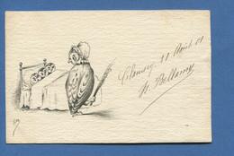 Carte Postale Ancienne Illustrateur Signé Isa Anthropomorphisme Famille Hibou Chouette Enfants Martinet 1901 Clamecy - Otros Ilustradores