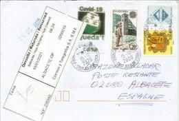 Carta De Andorra A Albacete, Con Etiqueta De Devolución Al Remitente, Fotografías De Ambos Lados Del Sobre - Cartas