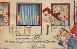 80-ABBEVILLE- CARTE A SYSTEME DEPLIANTE- CHAMANT VOYAGE , SOULEVEZ LE STORE SI VOUS VOULEZ VOIR LES PLUS BELLES VUES D'A - Abbeville
