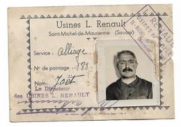 Saint Michel De Maurienne: Usines Louis Renault. Carte De Pointage.    Sd - Unclassified