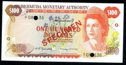 BERMUDAS  100 Dollars 1982, SPECIMEN P-33s  UNC - Bermudas