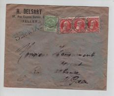 REF3521/ TP 74 Bde De 3 GB-83 S/L.H.Delsart Ixelles En Exprès C.Télégraphe BXL (Porte De Namur) 1908 > St.Gilles - 1905 Grosse Barbe