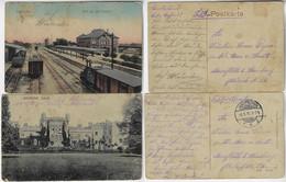 Germany 1915 2x Postcard Of Jarotschin Jarocin Castle And Railway Station Feldpost Mail WW1 After 1919 Poland - Poland