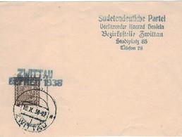 Sudetendeutsche Partei Konrad Henlein Zwittau - 18.10.1938 - Befreit 1938 !!! Scan Ansehen!! - Briefe U. Dokumente