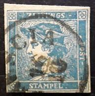 OSTERREICH AUSTRIA AUTRICHE 1851 ZEITUNG JOURNAUX, Yvert No 1, 0,6 K Bleu , Obl BRESCIA Italia ,TB - Journaux