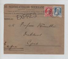 REF3522/ TP 74-76 S/L.Nederlandsche Boekhandel En Exprès C. Anvers (R. De Jesus) 1910 > Gent C.d'arrivée - 1905 Grosse Barbe