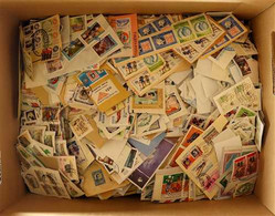 WORLD ON PAPER STAMPS Mostly 1980's-2000's Fine Used Stamps On Pieces In A Box, Includes Latin American Countries, Malay - Zonder Classificatie