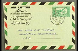 AEROGRAMME 1963 6a Green On Pale Green, Kessler 3, H&G 3, Rare Commercial Use From Kabul To USA, Fine Condition. For Mor - Afganistán