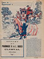 """CLERVAL (Doubs) - Protège-cahier Offert Par Pharmacie O & L DIDIER. Fable """"Le Chat Botté"""". Rabats Agraffés. TB état. - Chemist's"""