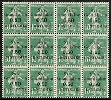 "SYRIA 1923 ""Syrie Grand Liban"" 0.50 Centiemes On 10c Green ""Sower"", Variety SURCHARGE ERROR, Yv 90b, Maury 95B & SG 99a, - Ohne Zuordnung"