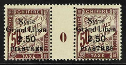 """SYRIA MILLESIMES (Postage Due). 1923 SURCHARGE ERROR, """"Syrie Grand Liban"""" 2.50 Piastres On 50c Dull Claret, Yv 20a, Maur - Ohne Zuordnung"""