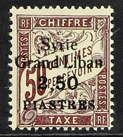 """SYRIA POSTAGE DUE. 1923 SURCHARGE ERROR, """"Syrie Grand Liban"""" 2.50 Piastres On 50c Dull Claret, Yv 20a, Maury 21A & SG D1 - Ohne Zuordnung"""