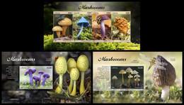 LIBERIA 2020 - Mushrooms, M/S + 2 S/S Official Issue [LIB200509] - Champignons