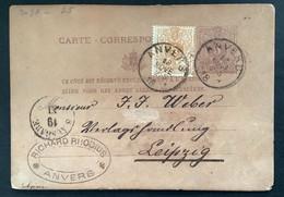 Postkaart 5c + 5c OBP 28 EC ANVERS - LEIPZIG - 1869-1888 Lying Lion