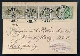 Postkaart 23 AVRIL 1884 OBP 42 (5x) EC BRUGES - Leipzig - 1869-1888 Lying Lion