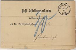 DR - Weichlitz 1883 K1 A. Post-Zustellurkunde N. Plauen - Cartas