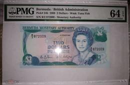 BERMUDAS  2 Dollars 1989,  P-34b PMG64 UNC - Bermudas
