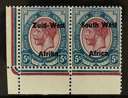 1923 Setting I 5s Purple And Blue, SG 10, Lower Left Corner Horizontal Pair, Very Fine Mint. For More Images, Please Vis - Südwestafrika (1923-1990)
