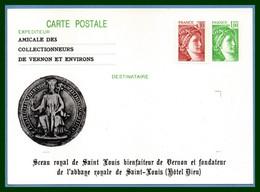 Entier Cp Repiqué Neuf VERNON 1979 Sceau Royal De Saint Louis Hôtel Dieu (illustration Vernissée) - Vernon