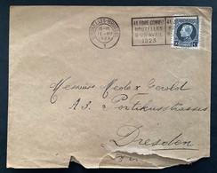 "Briefomslag Met VLAGstempel / RECLAMEstempel OBP 211 50c Kleine Montenez ""4e Jaarbeurs Brussel 9-15 April 1923"" - 1921-1925 Petit Montenez"