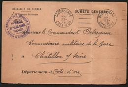 Côte D'Or - DIJON - Oblitération Par Krag Dijon Gare - Franchise Direction De La Sûreté Générale - Cachet Violet - 1915 - Other