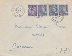 MERCUR 10C X3 + IRIS 1F20 SUR LETTRE AU TARIF LE MARTINET GARD 18/1/1945 POUR CONNAUX - Briefe U. Dokumente