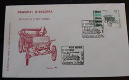 FDC MUSEU NACIONAL DE L'AUTOMOBIL. PRINCIPAT D'ANDORRA 1992 - Cartas