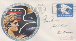 N°1255 N -lettre (cover) -Apollo 17 -fac Similé Signature Evans Schitt Cervan - USA