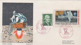 N°1254 N -lettre (cover) -Apollo 17 -Lunar Landing- - USA