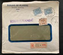 Recommande 1928 Gefrankeerd Uitgifte Houyoux 1f50 (2x) + 50c - Firmaperforatie B.F. Banque De Flandre - 1909-34