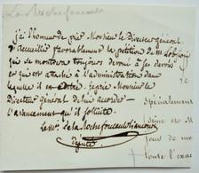 Note écrite Et Signée Par Le Marquis De La Rochefoucauld-Liancourt, Député - Handtekening