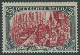 Dt. Reich 81Ab *, 1902, 5 M. Grünschwarz/dunkelkarmin, Karmin Quarzend, Gezähnt A, Ohne Wz., Falzreste, Pracht, Mi. 350. - Unused Stamps