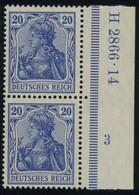 Dt. Reich 87Ia HAN Paar **, 1905, 20 Pf. Ultramarin Friedensdruck Im Senkrechten HAN-Paar H 2866.14 Und Plattennummer 3, - Unused Stamps