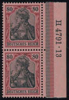 Dt. Reich 93I HAN Paar **, 1905, 80 Pf. Dunkelrötlichkarmin/schwarz Auf Mattrosarot Friedensdruck Im Senkrechten HAN-Paa - Unused Stamps